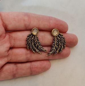 Pamela Love wing and opal earrings